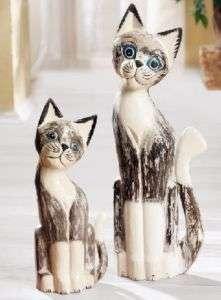 Sehr edle Deko Katzen aus Holz (41 u. 59 cm)