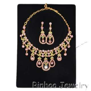 Pink Austrian Rhinestone Golden Necklace&Earrings set