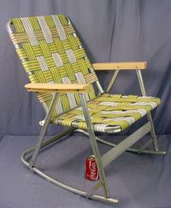 Rocking Chairs on Vintage Aluminum Folding Webbed Rocking Lawn Chair Deck Camping 5 Lbs