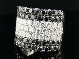 14K MENS WHITE GOLD PINKY VS BLACK DIAMOND BAND RING 8C