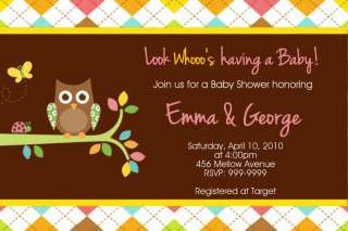 Sweet Owl Baby Shower Birthday Invitations U Print Boy or Girl