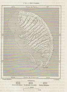 MEXICO YUCATAN RECIF ALACRAN 1891 original antique map