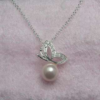 SALE SILVER PLATED Pink Pearl Butterfly NECKLACE N016