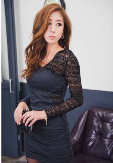 New Women Lady Slim Lace Splice Long Sleeve Mini Dress Sexy Cocktail