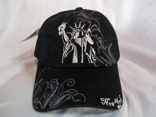 NEW YORK STATUE OF LIBERTY BALL CAP HAT IN BLACK ADJ.