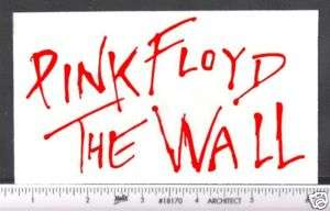 Sticker   Pink Floyd   The Wall   red letters decal