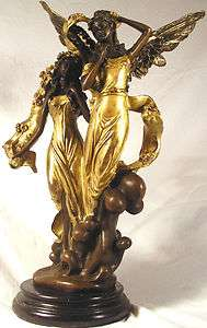 WOMAN & ANGEL WINGS GREEK ROMAN BRONZE SCULPTURE STATUE WITH GOLD