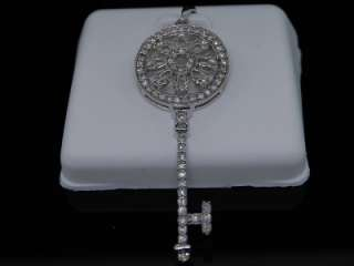 LADIES WHITE GOLD DIAMOND KEY LOCK CHARM PENDANT
