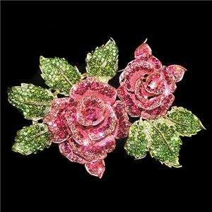 Huge Dual Rose Leaf Pin Brooch Swarovski Crystal Pink Glitzy Flower