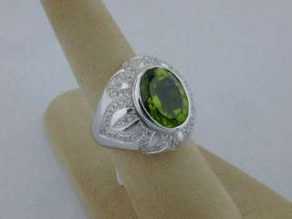 Fine 7.40ct Peridot 18k White Gold Ring w/ Diamonds