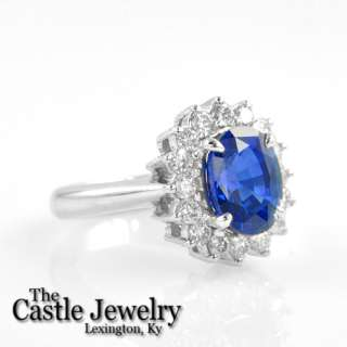 LADIES PRINCESS DI NATURAL SAPPHIRE .81 CT DIAMOND RING