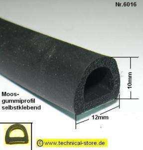 3m (€ 4,95/m) Gummidichtung Dichtprofil selbstklebend 6016