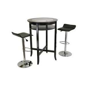 Set, Table with Glass Inset, Air Lift Stools Espresso Electronics
