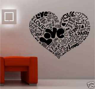 GIANT LOVE HEART MADE FROM LOVE VINYL WALL ART BEDROOM