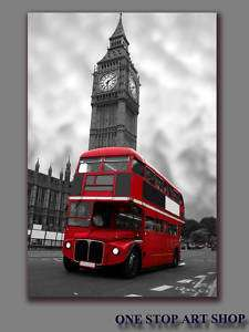 LONDON CITY BIG BEN RED BUS CITYSCAPE ART CANVAS 20X16