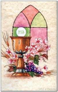 Inviti Comunione calice vetro colorato lilla/verde