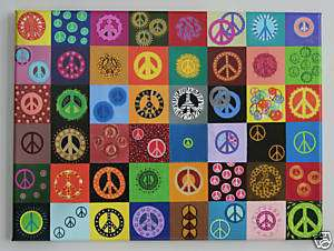 Peace Sign Print Wall Art Painting Retro Fun Colorful