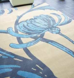 LARGE IVORY BEIGE TEAL DUCK EGG BLUE FLORAL RUG 160X225