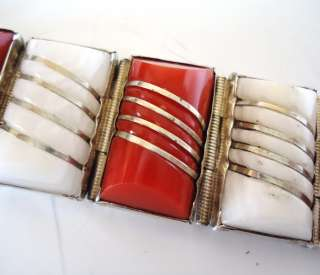 RED CORAL WHITE AGATE MEXICO MEXICAN STERLING SILVER BRACELET