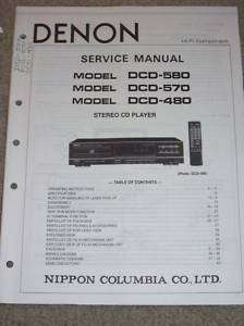 Denon Service/Ops Manual~DCD 580/570/480 CD Player