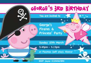 PIRATE & PRINCESS PEPPA PIG Personalised invites x 12