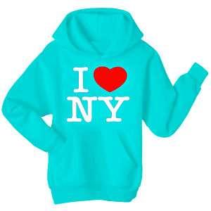 LOVE (heart) NEW YORK Hoodie Top  Light Blue Colour