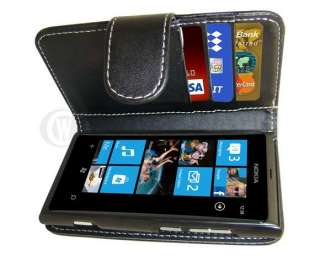 New Black Leather Wallet Case Skin Cover For NOKIA LUMIA 800 UK