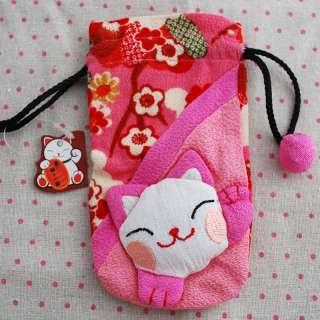 Japanese Lucky Cat Maneki Neko Mobile Pouch / Sock