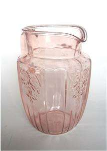 Hocking Glass Mayfair Open Rose Pink Water Pitcher