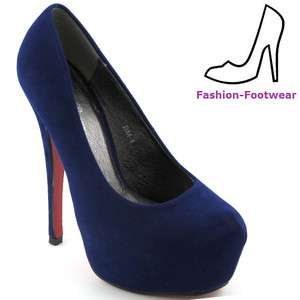 LADIES NAVY BLUE SUEDE PLATFORM WOMENS COURT SHOES PARTY HIGH HEELS