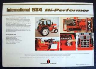 INTERNATIONAL 584 TRACTOR SALES BROCHURE C 1979.