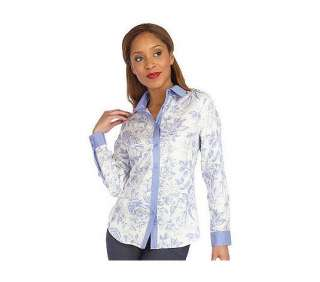 ISAACMIZRAHILIVE! Silk Blend Toile Long Sleeve Printed Blouse   QVC