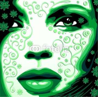 Viso Donna Verde Natura Womans Face Green Nature Vector © bluedarkat