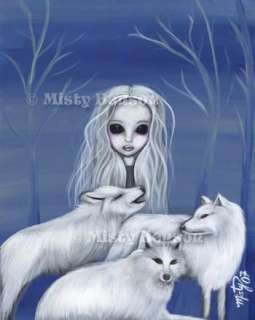 WOLF MOON~Gothic Fantasy Art~Big Eye Fairy Tale~8.5x11