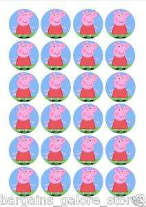 24 PRE CUT PEPPA PIG CAKE TOPPERS CHILDRENS PARTY