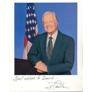 Autographed Owens Photo   JIMMY CARTER 8x10 color TO DAVID