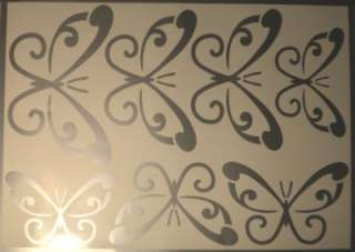 LARGE SILVER Swirl Butterfly Wall Stickers Removable