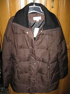 MICHAEL KORS DOWN COAT NEW QUILTED DARK BROWN L LADIES