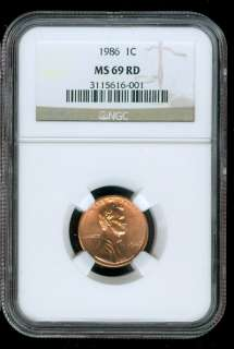 1986 LINCOLN CENT NGC MS69 BRIGHT RED SOLO FINEST REGISTRY .