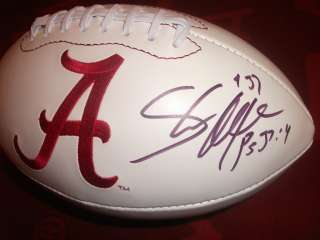 Shaun Alexander SIGNED Alabama Crimson Tide logo Football auto COA