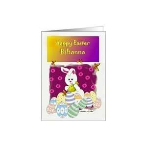 Happy Easter Rihanna / Easter Bunny Coloring Eggs Card