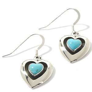 Canyon Southwest Turquoise Heart Sterling Silver Earrings