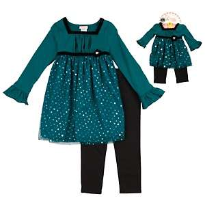 Dollie & Me Little Girl and Doll Blue Floral Chiffon Dress Set