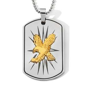 Tone Stainless Steel Eagle Dog Tag Pendant with Chain