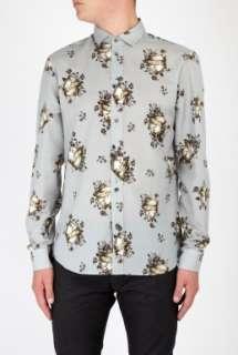 McQueen  Blue Logo Shield Rose Cotton Shirt by McQ Alexander McQueen