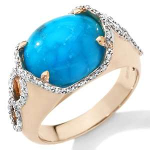 Heritage Gems Imperial Turquoise and Diamond 14K East/West Ring