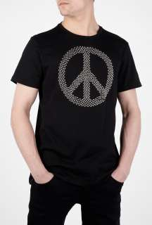Moschino  Black Studded Peace Sign T Shirt by Moschino