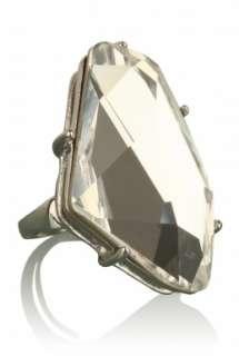 Crystal Gunmetal Ring by Kenneth Jay Lane   Metallic   Buy Jewellery