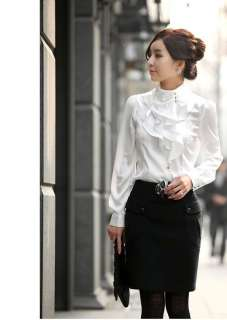 Victorian Retro Women Long Sleeve Blouse Top Ruffle Stand Collar Slim