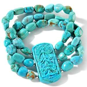 Sally C Treasures Carved Turquoise 6 1/2 Sterling Silver Bracelet at